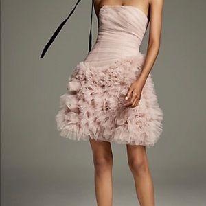 Vera Wang Draped Tulle Mini Dress 3D Floral Skirt